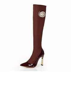 Cloth Stiletto Heel Pumps Closed Toe Over The Knee Boots With Rhinestone shoes