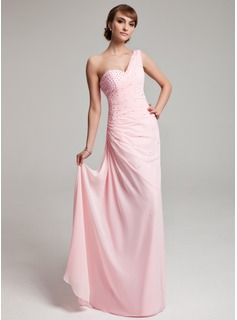 Sheath One-Shoulder Floor-Length Chiffon Prom Dress With Ruffle Beading (018004880)