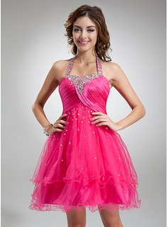 A-Line/Princess Halter Knee-Length Tulle Charmeuse Cocktail Dress With Ruffle Beading Sequins (016016339)