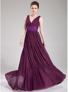 A-Line/Princess V-neck Floor-Length Chiffon Charmeuse Evening Dress With Ruffle Sash (017019750)