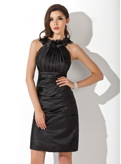 Sheath/Column Scoop Neck Knee-Length Charmeuse Cocktail Dress With Ruffle Flower