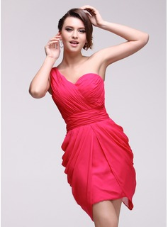 Sheath One-Shoulder Short/Mini Chiffon Homecoming Dress With Ruffle