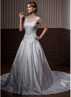 Ball-Gown Scoop Neck Cathedral Train Organza Satin Wedding Dress With Embroidered Beading
