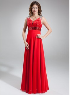 A-Line/Princess Scoop Neck Floor-Length Chiffon Tulle Sequined Prom Dress With Ruffle Beading