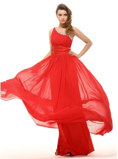 Empire One-Shoulder Floor-Length Chiffon Charmeuse Holiday Dress With Ruffle Sash (020016063)