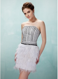 Sheath Strapless Short/Mini Charmeuse Feather Cocktail Dress With Beading Sequins
