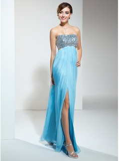 Sheath Sweetheart Floor-Length Chiffon Prom Dress With Ruffle Beading (018022452)