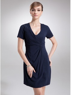 Sheath V-neck Short/Mini Chiffon Cocktail Dress With Ruffle (016020714)