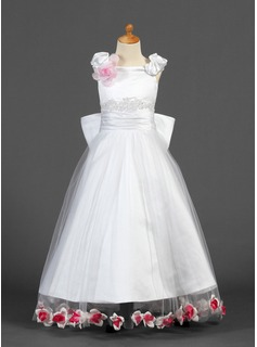 A-Line/Princess Off-the-Shoulder Floor-Length Satin Tulle Flower Girl Dress With Lace Beading Flower(s) Bow(s)