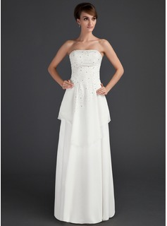 A-Line/Princess Strapless Floor-Length Chiffon Mother of the Bride Dress With Beading