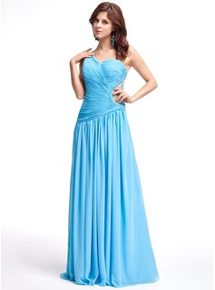 A-Line/Princess One-Shoulder Floor-Length Chiffon Tulle Evening Dress With Ruffle Beading