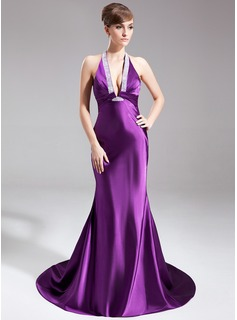 Mermaid Halter Court Train Charmeuse Evening Dress With Ruffle Beading