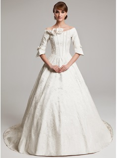 A-Line/Princess Off-the-Shoulder Chapel Train Charmeuse Wedding Dress With Ruffle Beading Flower(s) (002017570)