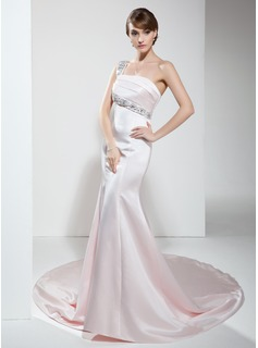 Mermaid One-Shoulder Chapel Train Satin Evening Dress With Beading (017022530)