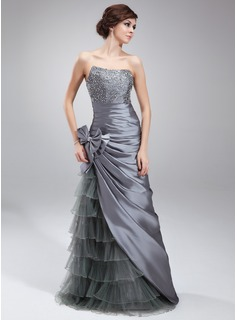 Sheath Sweetheart Floor-Length Taffeta Tulle Prom Dress With Ruffle Beading Sequins