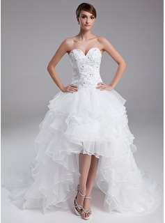 A-Line/Princess Sweetheart Asymmetrical Organza Satin Lace Prom Dress With Beading Cascading Ruffles