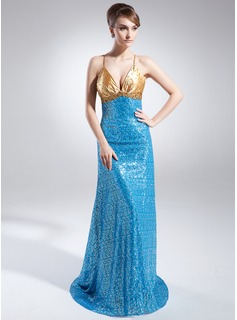A-Line/Princess V-neck Court Train Charmeuse Sequined Evening Dress With Ruffle Beading (017015771)