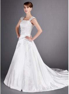 A-Line/Princess Chapel Train Satin Wedding Dress With Lace Beading