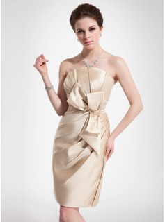 Sheath/Column Scalloped Neck Knee-Length Satin Cocktail Dress With Ruffle Lace Beading Bow(s)