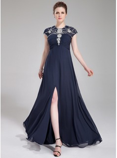 A-Line/Princess Scoop Neck Floor-Length Chiffon Tulle Evening Dress With Ruffle Beading Sequins Split Front