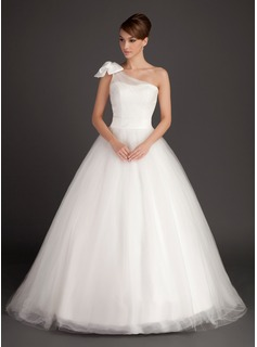 Ball-Gown One-Shoulder Sweep Train Satin Tulle Wedding Dress With Sashes (002015487)
