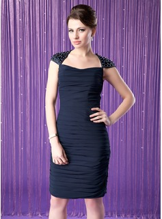 Sheath/Column Scoop Neck Knee-Length Chiffon Charmeuse Mother of the Bride Dress With Ruffle Beading Sequins