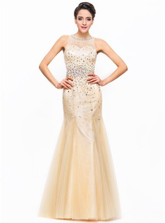 Trumpet/Mermaid Scoop Neck Floor-Length Tulle Charmeuse Lace Prom Dress With Beading Sequins