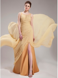 A-Line/Princess Scoop Neck Court Train Chiffon Tulle Evening Dress With Ruffle Beading (017019732)