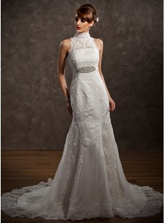 Mermaid High Neck Court Train Satin Tulle Wedding Dress With Lace Beadwork (002001234)