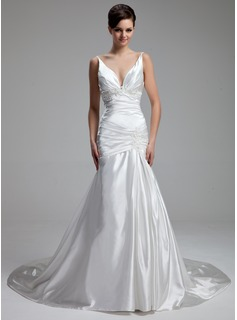 A-Line/Princess V-neck Chapel Train Charmeuse Wedding Dress With Ruffle Beading Appliques Lace