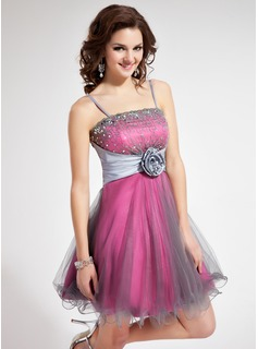 A-Line/Princess Short/Mini Taffeta Tulle Homecoming Dress With Lace Beading Flower(s) Sequins