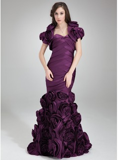 Mermaid Sweetheart Sweep Train Satin Evening Dress With Ruffle Flower(s) (017025834)