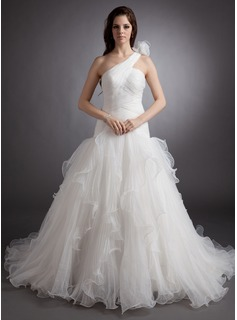 Ball-Gown One-Shoulder Court Train Organza Wedding Dress With Ruffle Flower(s) (002000622)