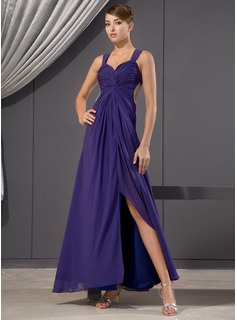 A-Line/Princess Sweetheart Ankle-Length Chiffon Evening Dress With Ruffle Beading Sequins
