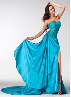 A-Line/Princess Sweetheart Court Train Taffeta Tulle Prom Dress With Lace Beading Sequins