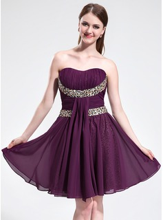A-Line/Princess Sweetheart Knee-Length Chiffon Homecoming Dress With Ruffle Sash