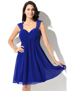 Empire Sweetheart Short/Mini Chiffon Homecoming Dress With Ruffle Lace Beading Sequins