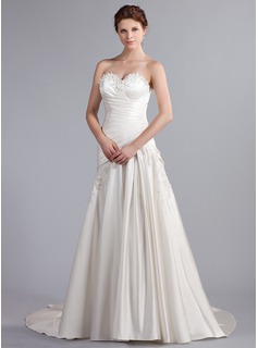A-Line/Princess Sweetheart Cathedral Train Satin Wedding Dress With Ruffle Lace Beadwork