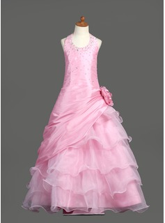 A-Line/Princess Scoop Neck Floor-Length Taffeta Organza Flower Girl Dress With Ruffle Beading Flower(s) Sequins (010005778)