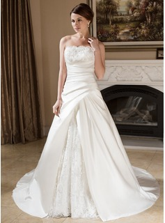 A-Line/Princess Strapless Court Train Satin Lace Wedding Dress With Ruffle Beading