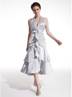 A-Line/Princess Halter Tea-Length Charmeuse Cocktail Dress With Ruffle Beading