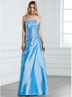 Sheath/Column Strapless Floor-Length Taffeta Bridesmaid Dress With Ruffle Beading