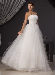 A-Line/Princess Strapless Floor-Length Tulle Wedding Dress With Ruffle Beading