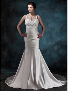 Mermaid Sweetheart Chapel Train Satin Wedding Dress With Ruffle (002001189)