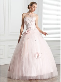 Ball-Gown Sweetheart Floor-Length Satin Tulle Quinceanera Dress With Beading Flower(s)