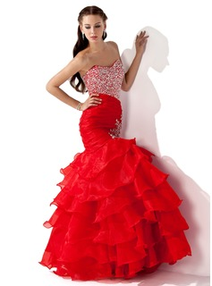 Mermaid Sweetheart Floor-Length Organza Satin Prom Dress With Ruffle Beading Sequins