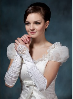 Elastic Satin Lace Elbow Gloves (014020515)