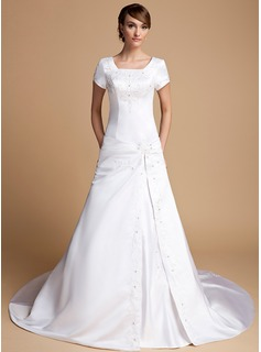 A-Line/Princess Square Neckline Cathedral Train Satin Wedding Dress With Ruffle Beadwork