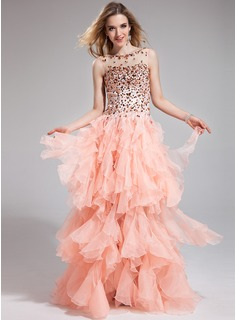 A-Line/Princess Scoop Neck Floor-Length Organza Charmeuse Prom Dress With Beading