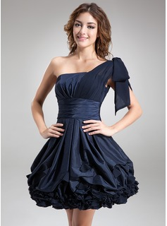 A-Line/Princess One-Shoulder Short/Mini Chiffon Taffeta Cocktail Dress With Ruffle